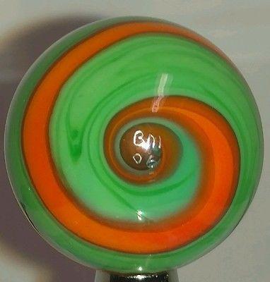 Handmade Marble Corkscrew Twist Blown Glass 1 Inch Green Orange Signed BM 06