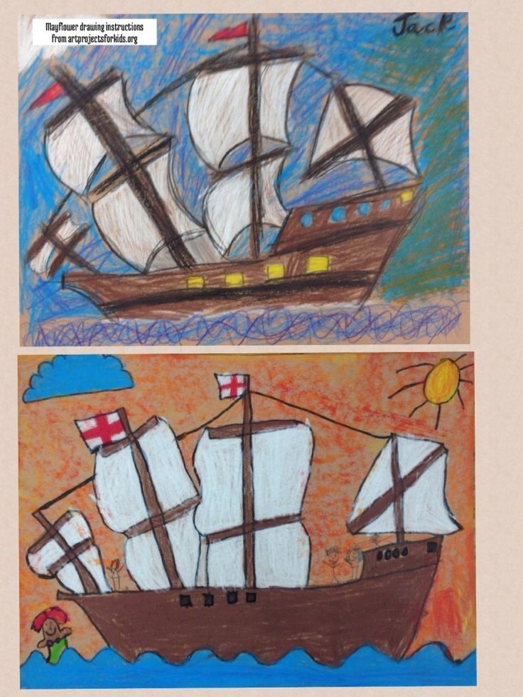 Thanksgiving Mayflower Drawings made with crayola color sticks and instructions from artprojectsforkids.org