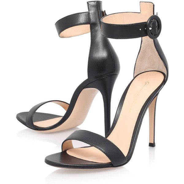Gianvito Rossi Black Leather Como Heeled Sandals ($715) ❤ liked on Polyvore featuring shoes, sandals, sexy high heel sandals, heeled sandals, black sandals, leather strappy sandals and strap sandals