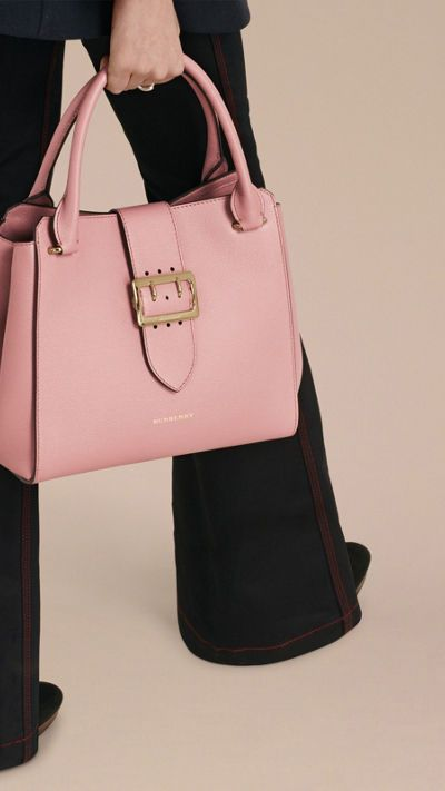Dusty pink The Medium Buckle Tote in Grainy Leather 3