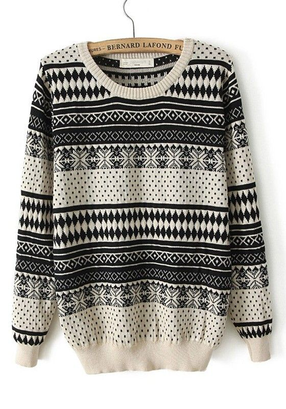 ++ beige geometric print long sleeve cotton blend sweater