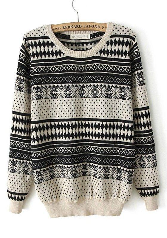 ++ beige geometric print long sleeve cotton blend sweater