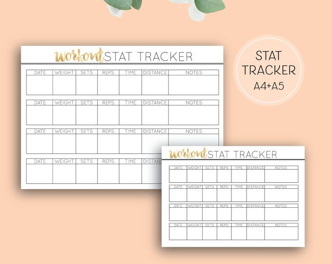 Printable Workout Stat Tracker, Digital Download Health & Fitness Planner Pages in A4 and A5 size