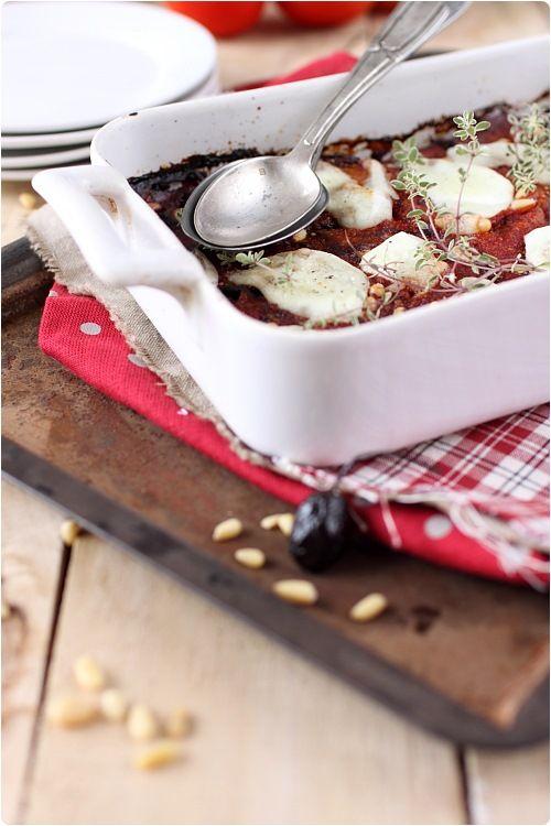Gratin daubergines à la mozzarella et olives noires