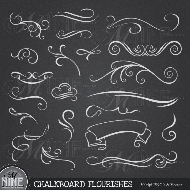 "Blackboard Artwork Ideas: CHALKBOARD Clip Art: ""Chalk FLOURISHES"" Clipart Design"