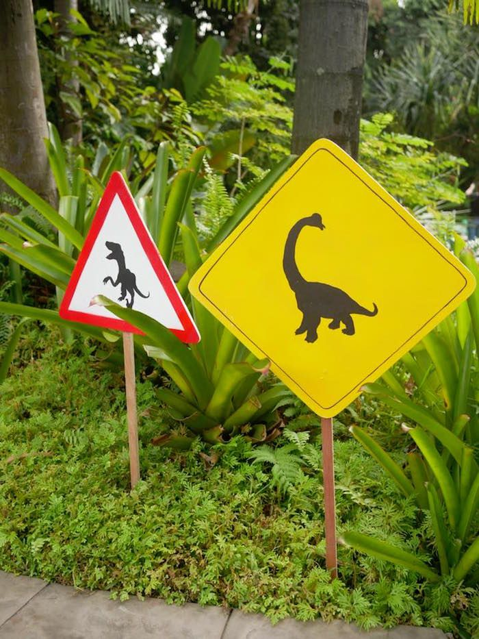 Caution T-Rex + Yield to Dinosaurs signage from a Roaring Dinosaur Birthday Party on Kara's Party Ideas   KarasPartyIdeas.com (22)
