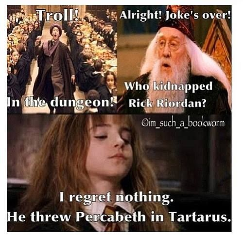 ↑ THIS ↑ Bwahahaha! Tbh, I'm less worried about Percy and Annabeth and more worried about the reputation of the series. The movie franchise is pulling EVERYONE into Tartarus. That includes us fans!<<< THAT COMMENT THOUGH