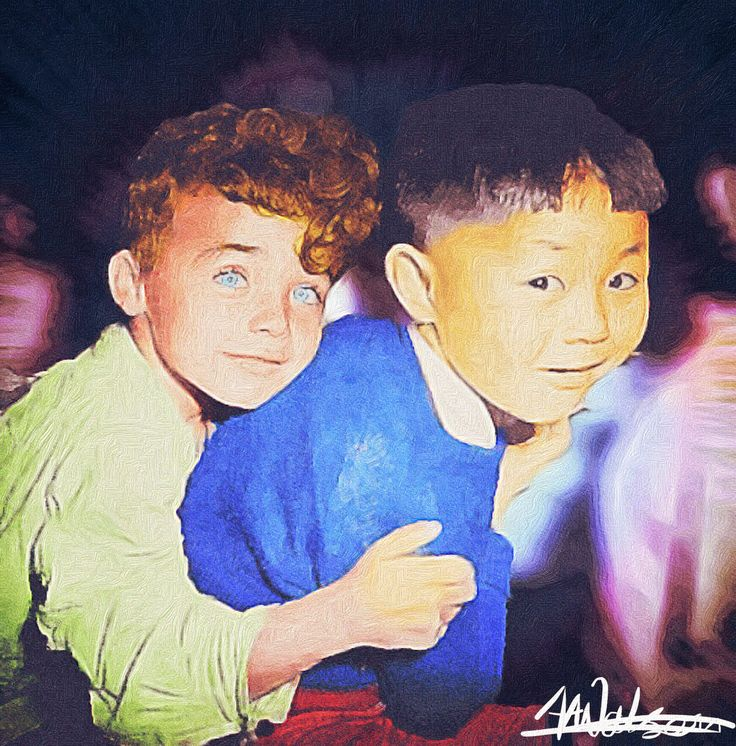 """Colourised b/w photo then painted with """"brushstroke"""""""