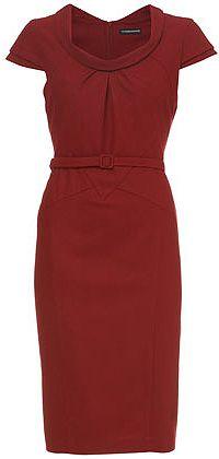 red pencil dress with belt ... nice neckline