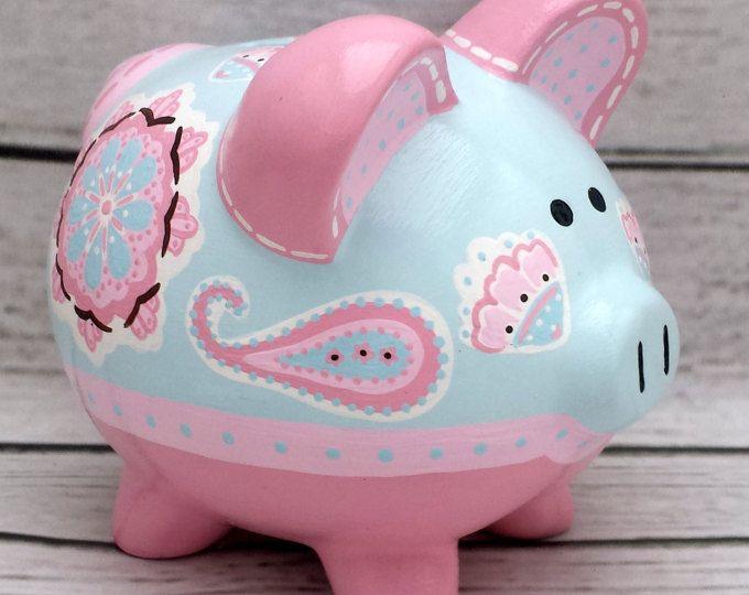 Pintado a mano de alcancía personalizada artesanal cerámica Banco ~ Brooklyn en rosa y azul