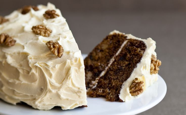 Date & walnut cake. Use cream cheese frosting instead of the buttercream