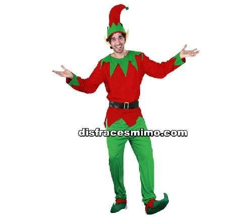 disfraz de elfo adulto en talla m/l en el que incluye camisa,cinturon,pantalon,zapatos,orejas y gorro de hombre de adulto