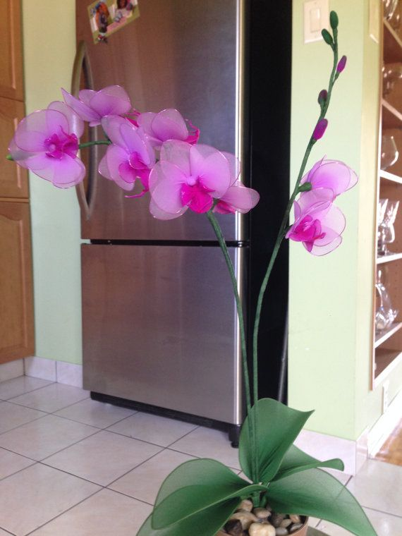 Violet / Pink orchid flower nylon flowers by TheCallendersFlowers, $30.00