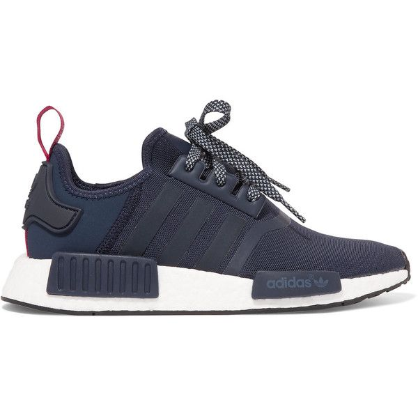 Adidas Originals NMD Nomad Runner suede-trimmed Stretch Cordura®... (£100) ❤ liked on Polyvore featuring shoes, stretchy shoes, laced up shoes, stretching shoes, light weight shoes and stripe shoes