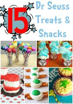 Dr. Seuss snacks to celebrate Read Across America week.  Cute ideas for classrooms or birthday parties.
