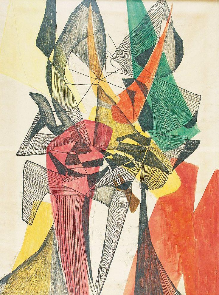Maria JAREMA (1908-1958)  Głowy, 1954 monotypia barwna, papier naklejony na płótno; 58 x 42,5 cm; na odwrocie na płótnie opis autorski: MARIA