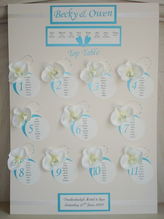 £65.00  www.beadazzledesigns.co.uk  Pale Blue and White Orchid Wedding Table Plan