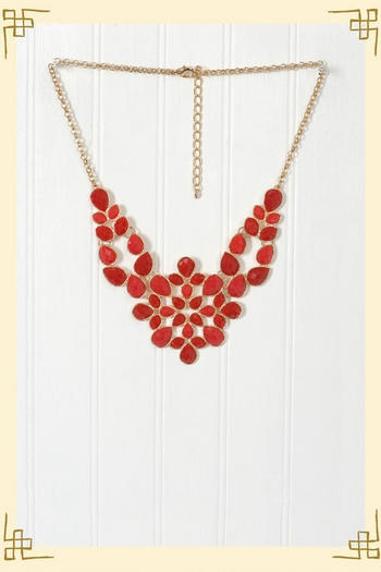 Delicate Demeanor Necklace in Coral