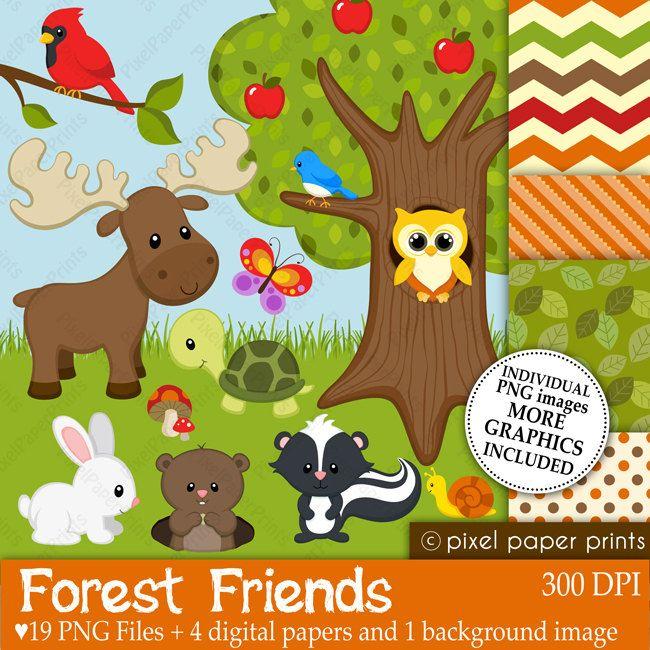 Amigos de la foresta  Set de Clip Art y por pixelpaperprints