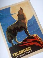 Волк Йеллоустонский Национальный Парк Карта Плакат Классический Урожай Ретро…