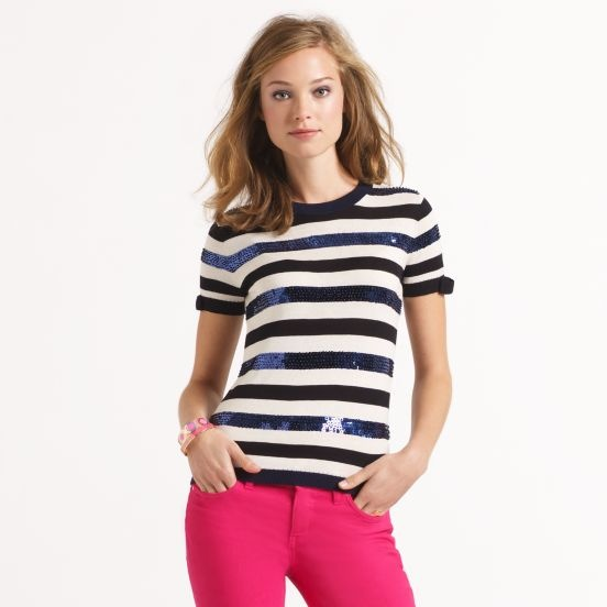 Kate Spade Caroline sweater with sequinned stripes.   Alas, I don't think I can pull this off but I adore it!
