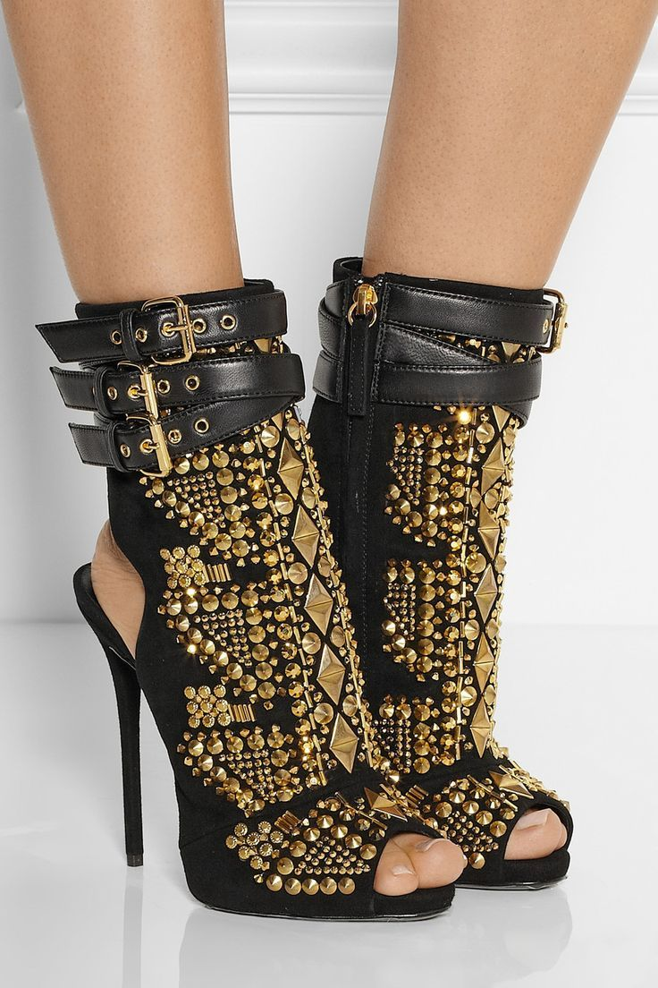 Giuseppe Zanotti|Embellished suede sandals|NET-A-PORTER.COM  // Follow SoFreshandSoChic.com - a new fashion and lifestyle blog - for more gold inspiration. #sofreshandsochic