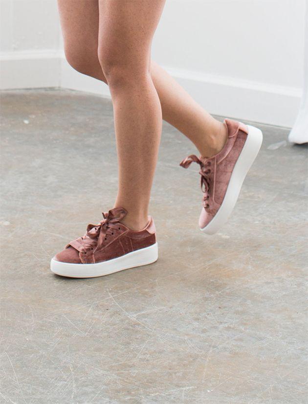 blush pink velvet sneakers