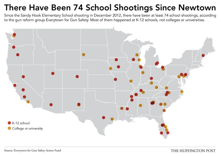 All 74 School Shootings Since Newtown, In One Depressing Map.  this is disturbing!  I'm pinning it to Positive Parenting because that's were the solution needs to start!