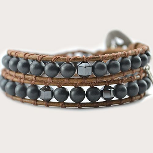 "Our Converge wrap bracelet has been designed with Hematite Gemstones. A ""stone for the mind"", Hematite has long been used to stimulate concentration and focus, enhancing memory and original thought. Ground yourself, set your intent and achieve your dreams with ease.  On distressed natural genuine leather (or vegan alternative*), finished with a unique silver button clasp. Can be purchased in two optional sizes for men or women, 2 wrap and 3 wrap, …"