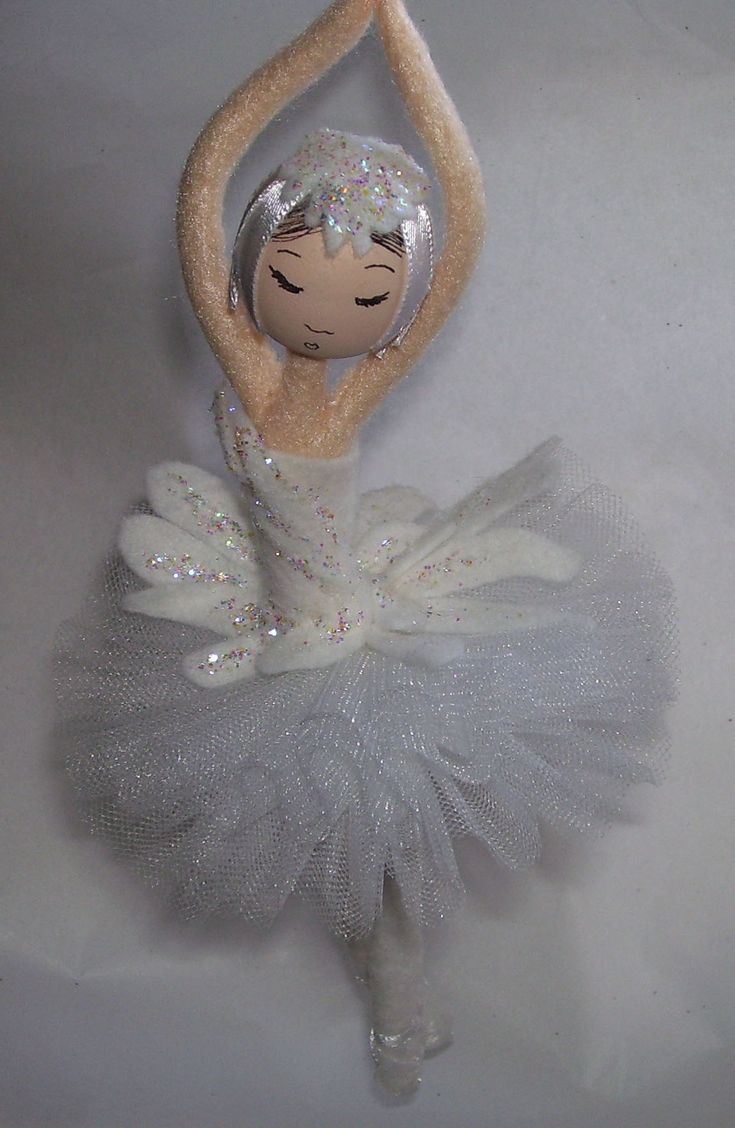 Here is my latest project. The method is very similar to my felt elf but obviously I dress it in a ballerina's tutu.