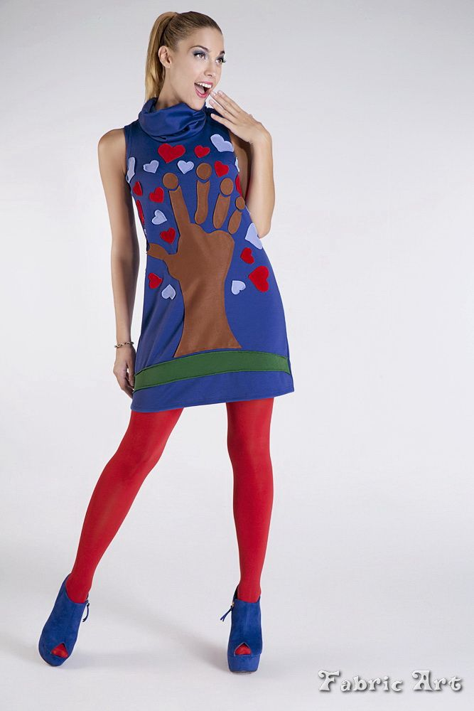"""Sleeveless dress with wide colar and handmade applique """"Tree with a hand and hearts""""."""