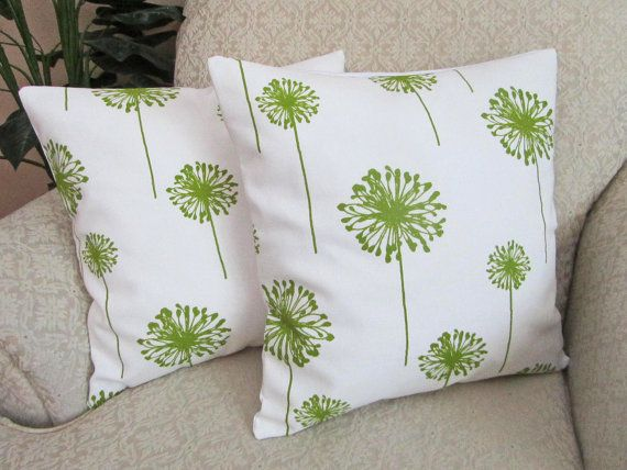 Throw Pillow Cover Dandelion Green White Decorative Couch
