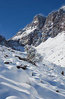 モロッコ, 山, 雪, アトラス山脈