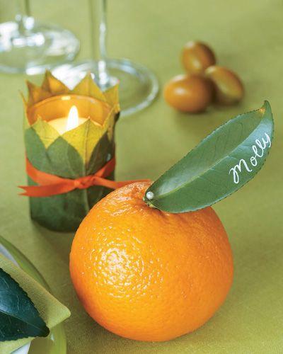 Citrus place cards. So cute.
