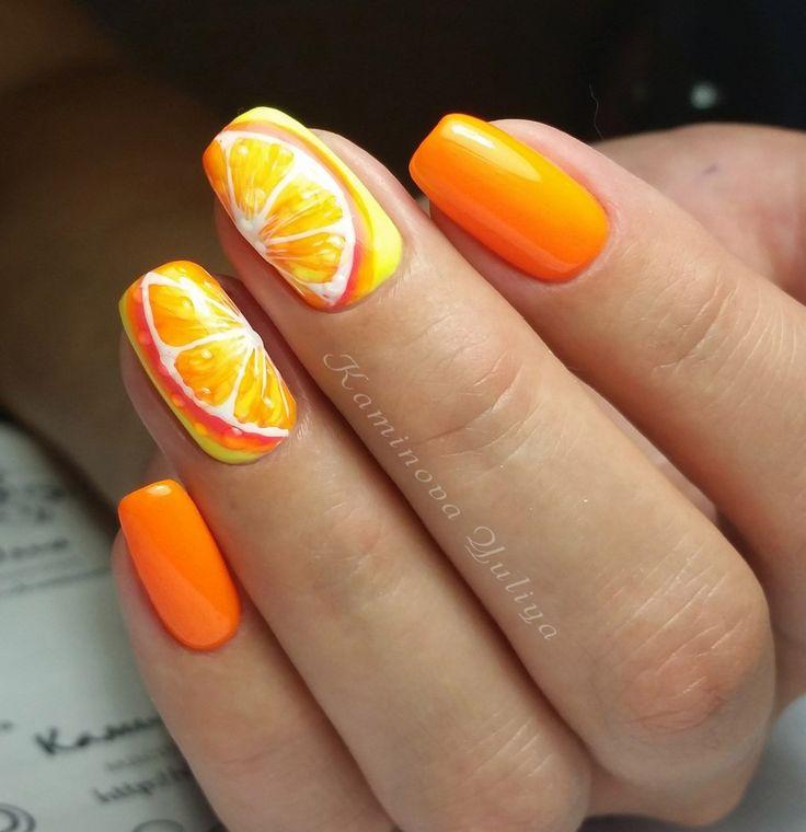 Manicure. Orange. Fruit