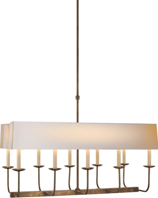 TT LINEAR BRANCHED 10-LIGHT CHANDELIER WITH DUAL LINEAR SHADE