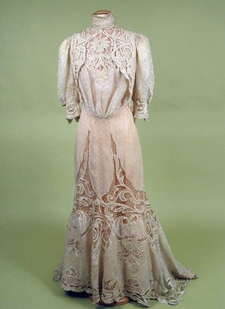 Cotton & Lace Tea Gown, c. 19051900S, Teas Gowns, Art Nouveau, Vintage Fashion, Lace Teas, 1900 1910, 1900 S, Cotton Lace, Vintage Clothing