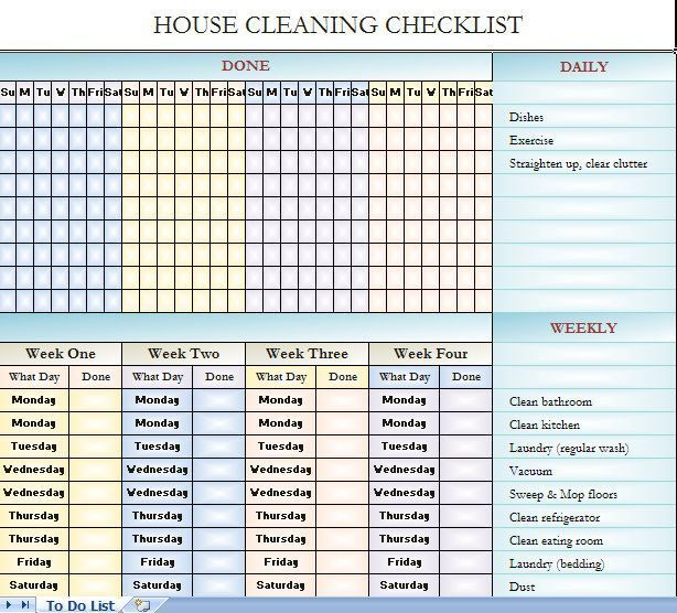 House Cleaning Checklist It S In Excel So You Can Change It To