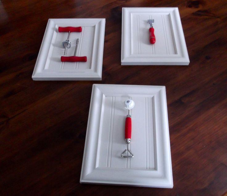 Kitchen wall art...shadow box frames with vintage kitchen utensils...