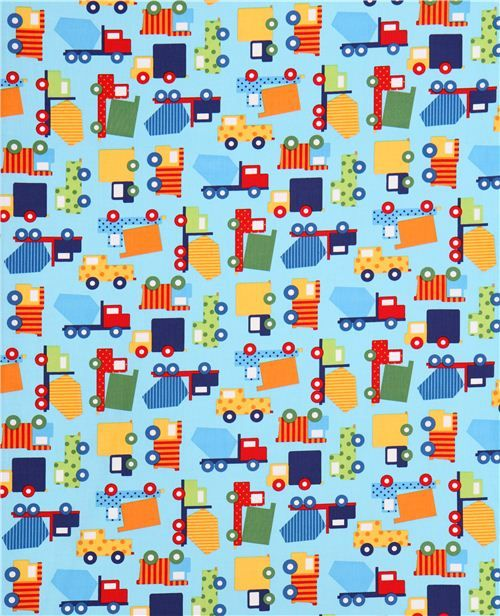 light blue truck construction vehicle car fabric Robert Kaufman Ready Set Go