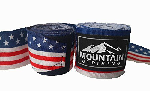 """Mountain Striking Hand Wraps, 180"""" Semi-Elastic, Great For Boxing & Muay Thai:   Mountain Striking hand wraps were designed by fighters for strikers of all combat sports. Whether you're practicing boxing, kickboxing, muay thai, mma, or just getting a heavy bag session in at the gym, our hand wraps will remain snug and keep you comfortable. The hand wraps are sold in pairs. Each hand wrap is 180 inches of a durable cotton and polyester blend. Each wrap has a thumb loop to get a tight st..."""