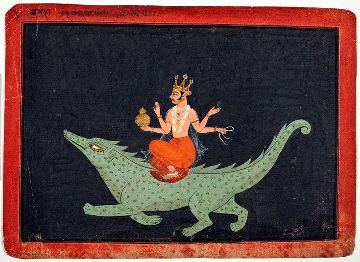 Deity of Shatabhisha - Varuna. Varuna, India, Rajasthan, Bundi, South Asia; Opaque watercolor and gold on paper