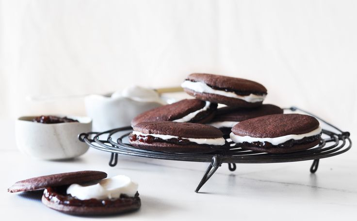 Raspberry & Pomegranate Jam, Coconut & Bitter Chocolate Biscuits - Maggie Beer