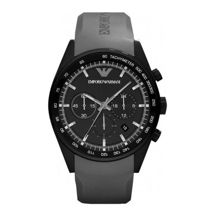 Armani AR5978 Sportivo Herrenuhr Chrono schwarzes Edelstahlgehäuse Armband grau