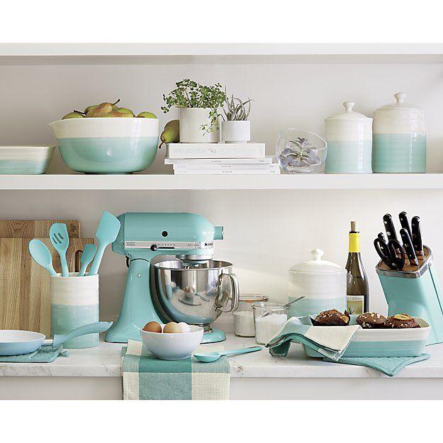 ... White Kitchen Aqua Accents