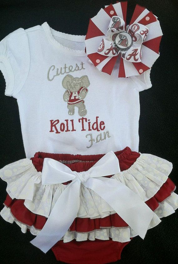 Alabama Crimson Tide inspired onesie by pigtailsandgumdrops, $53.00