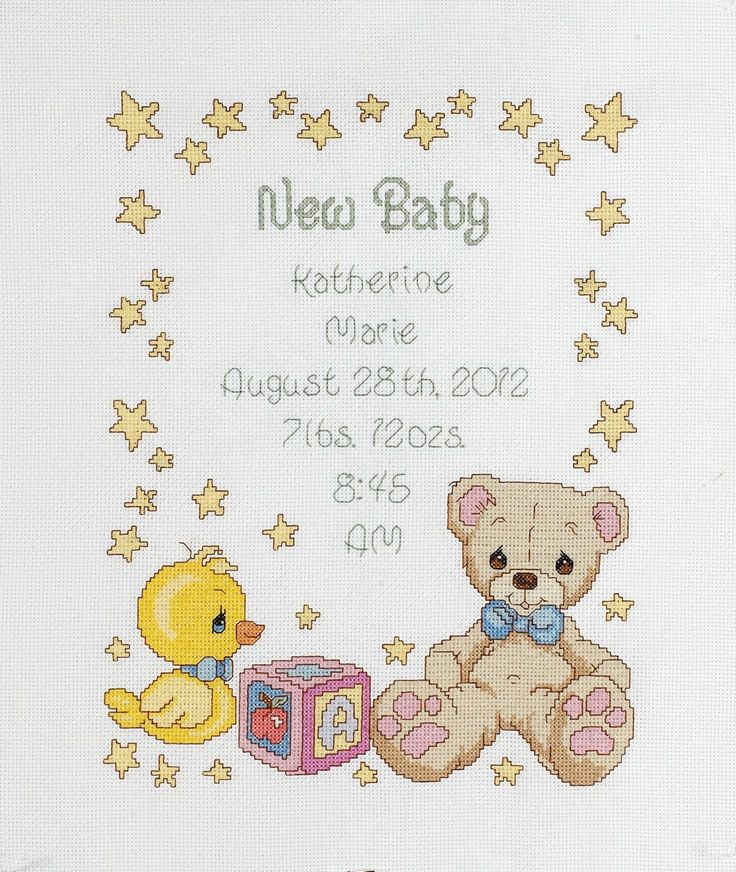 "11""X14"" 14 Count Precious Moments Birth Record Counted Cross Stitch Kit 45613"