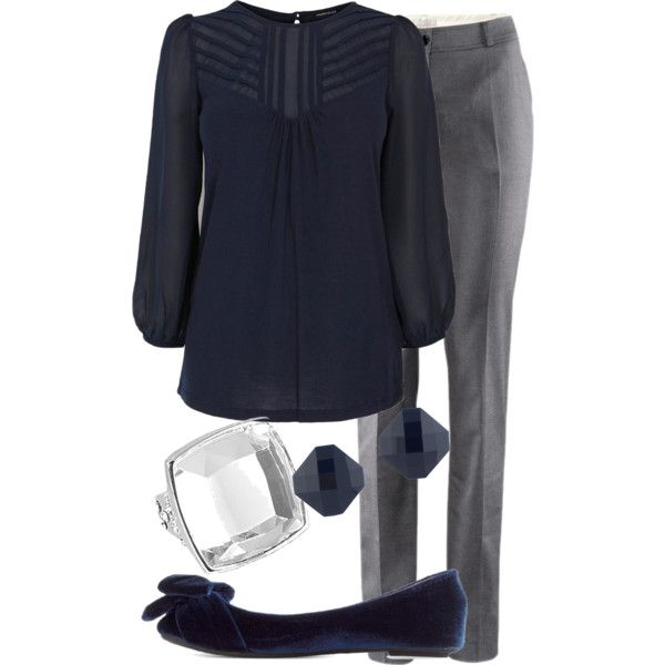 """Super pretty, blue and gray.  Love shoes.    She's got a bunch: """"Teacher Outfits on a Teacher's Budget 52"""" by allij28 on Polyvore"""