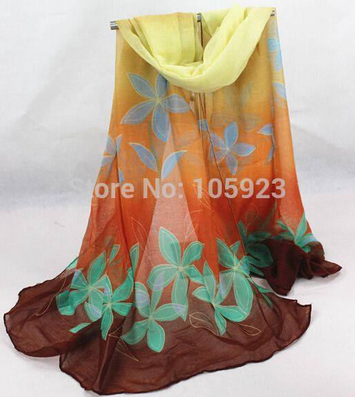 Free ship wholesale flower print large voile ladies scarf Women's Acrylic Shawl 180*100cm winter scarf 10pcs/lot 5 colors