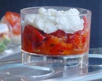 Verrines de poivrons, tomates et mozzarella (facile, rapide) - Une recette CuisineAZ